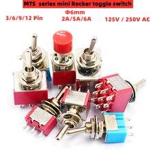 1 pçs vermelho mini 3/6/9/12pin 2/3 posição interruptores de alavanca dpdt mini interruptores de alavanca 6a/125v 2a/250v ac mts series interruptor de botão