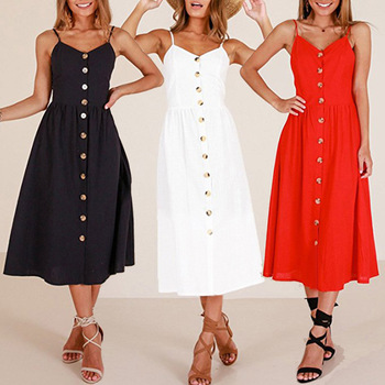 Sexy Spaghetti Strap Button Fashion Summer Dress Women Decoration Pocket Backless Floral A Line Mid-calf Vintage Dresses