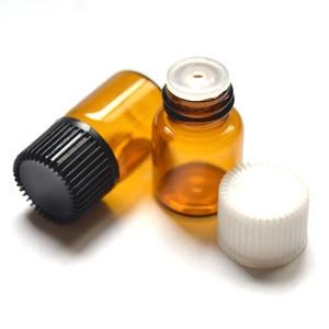 Image 5 - 10Pcs 2ml מיני אמבר זכוכית בקבוק עם פתח מפחית וכובע קטן בקבוקי שמן