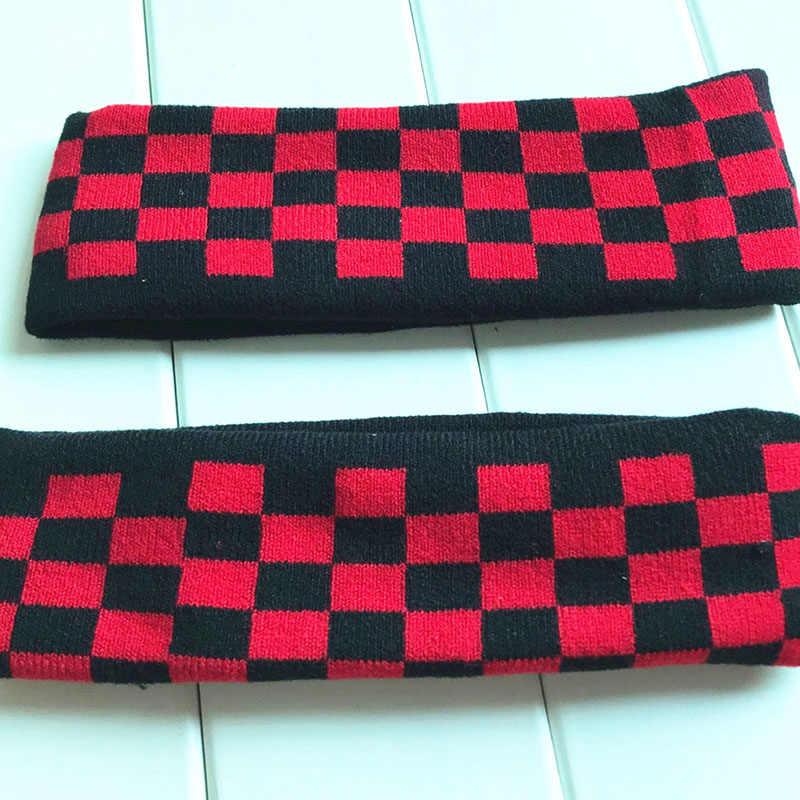 Kpop bangtan meninos jk concerto design elástico faixa de cabelo malha esportes maré headgear vermelho xadrez cor hairband