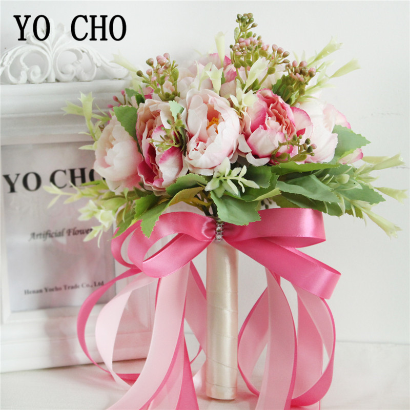 YO CHO Artificial Peony Wedding Bouquet Bridal 18 Heads Silk Peony Artificial Flowers Wedding Bouquet In Pink White Marriage