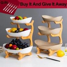 Assiette de fruits en plastique à trois couches, salon, maison assiette de collation, panier de fruits secs moderne créatif, plat en plastique, plat de bonbons