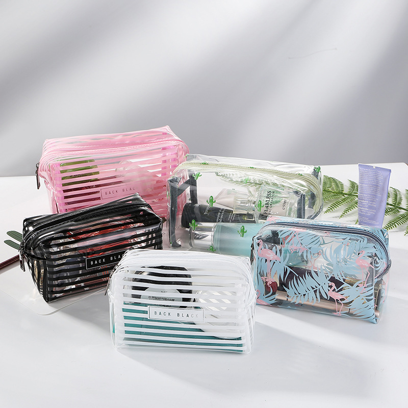 Two Size Flamgoing Portable Waterproof Transparent PVC Cosmetic Bag Striped Zipper Makeup Organizer Women Travel Toiletry Bag