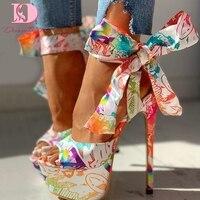 Doratasia 2020 sexy chaussures imprimer super mince talons hauts chaussures sandales femmes été fête plate-forme cheville-wrap femme sandales femme