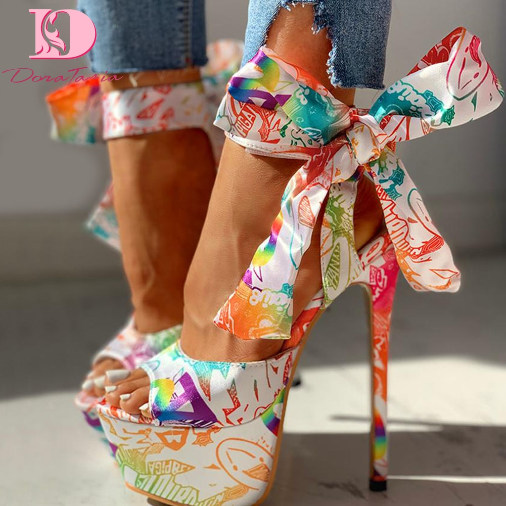 Doratasia 2020 sexy shoes Print super thin high heels Shoes sandals women Summer Party platform ankle-wrap Woman sandals female title=