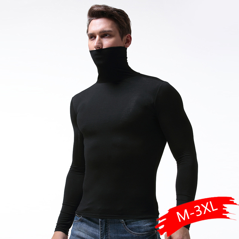 Men Thermal Underwear Tops Elastic Tight Undershirt High Neck Long Johns Soft And Breathable Winter Warm