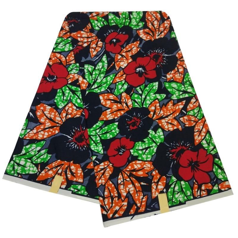 Ankara Flower Print Wax Fabric 6 Yards/Piece Nigeira African Textiles Real Dutch Floral Wax Tissu