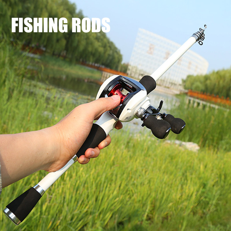 Newly Carbon Fiber Lure Fishing Rod With Low-Profile Reel Telescopic Sea Lake Fishing Pole Set (Not Include Fishing Reel)