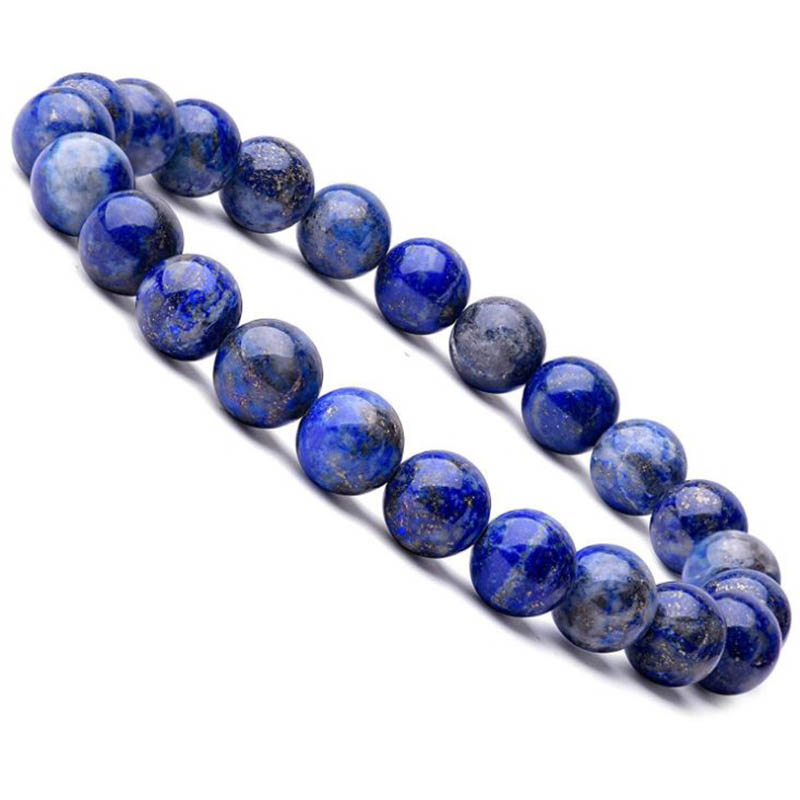 Natural 8mm Lapis Lazuli Beads Bracelets Unisex Elastic Bangle Natural Stone Round Beads Bracelet For Men Women Jewelry Gifts