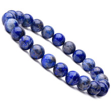 Natural 8mm Lapis Lazuli Beads Bracelets Unisex Elastic Bangle Natural Stone Round Beads Bracelet For Men Women Jewelry Gifts
