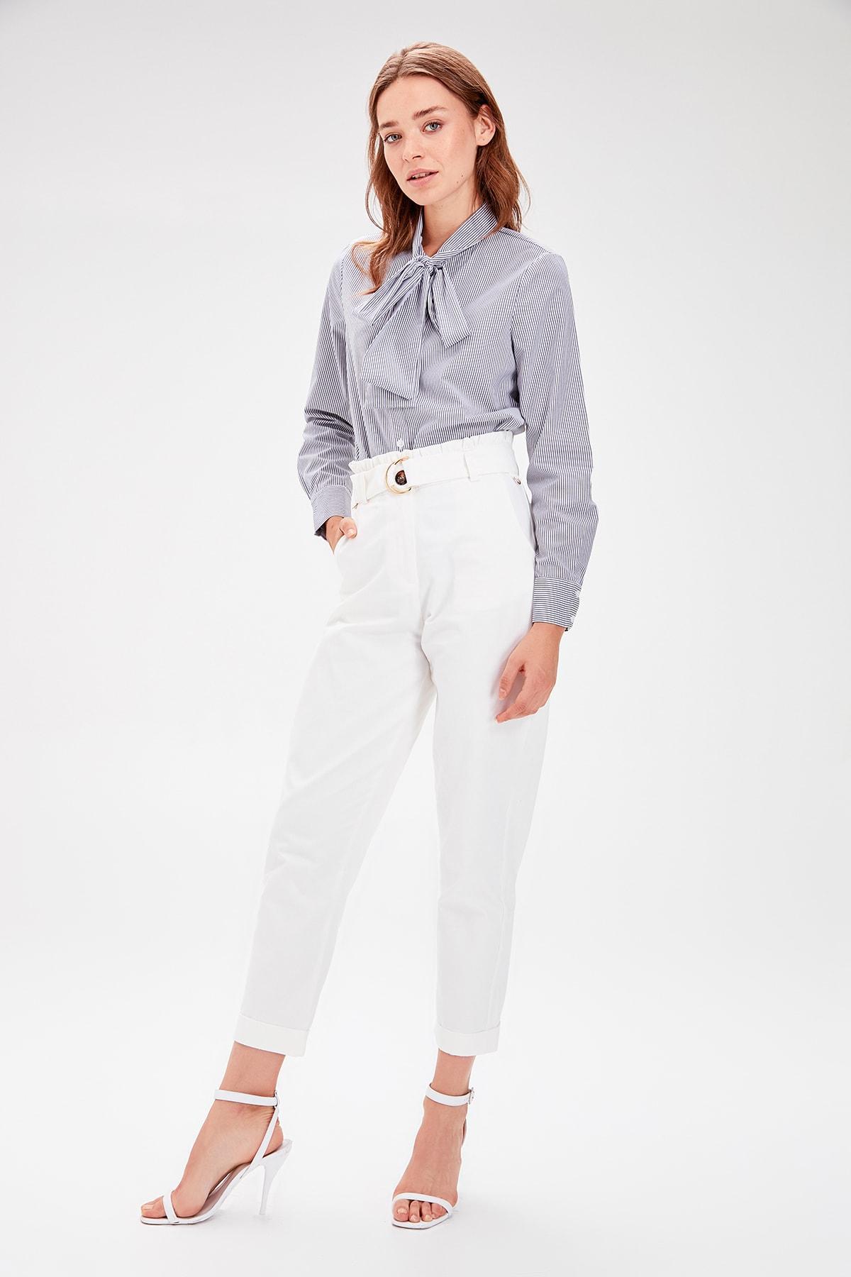 Trendyol White Arched Pants TWOAW20PL0051