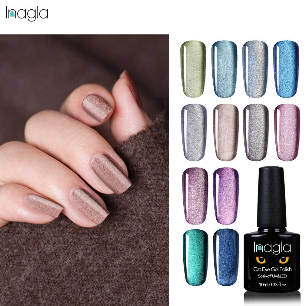 Inagla 5D Cat Eye Gel Nail Gel Polish Rendam Off UV LED Nail Polish Lacquer Varnish Top Base Coat 10 ml Rendam Off Gel Nail Art