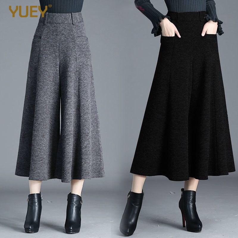 Women Winter Woolen Wide Leg Baggy Pants Dress Wool Pantyhose Thrown Thick Warm Gray Black Calf Length Cropped Pants Plus Size