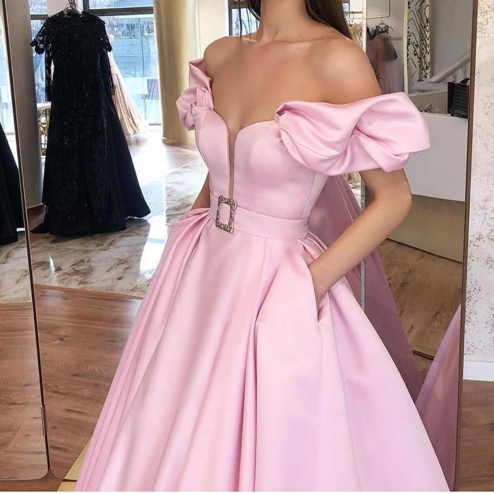 HONGFUYU Puffy Sleeves Satin Prom Evening Dresses Long Vestido De Noiva Party Gowns with Pockets Robe De Soiree вечернее платье