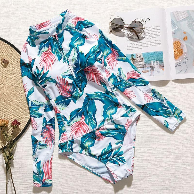 Лето, женский купальник с принтом листьев, длинный рукав, сексуальное бикини, бразильский Цельный боди, пуш-ап, купальник для женщин, монокини - Цвет: 2314-1
