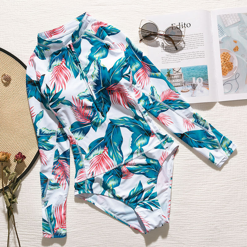 Bikinx Summer 2019 Leaves print swimsuit female Long sleeve sexy bikini new one piece bodysuit Push up swimwear women monokini