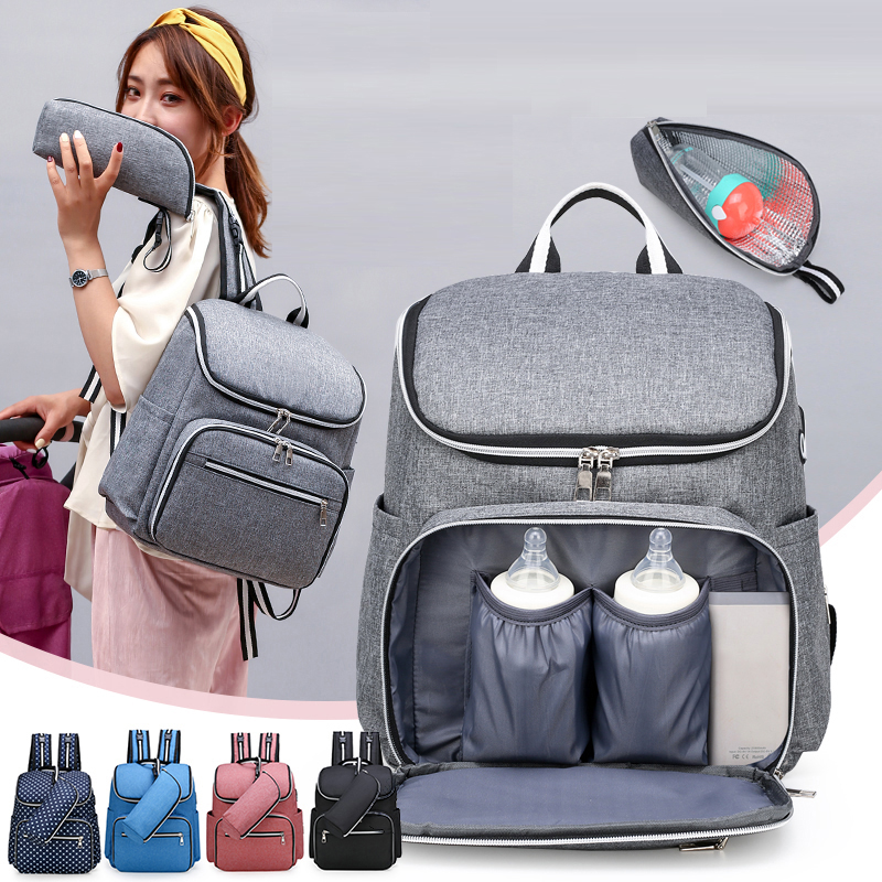Baby Diaper Bag Backpack Baby Bags Multi-Function Waterproof Gray Travel Maternity Bag Large Nappy Bag Wth USB Port For Stroller