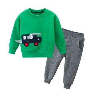 Image 3 - 봄 가을 어린이 소년 소녀 의류 면화 긴 소매 편지 세트 아동 의류 Tracksuit 아기 티셔츠 바지 2 Pcs/Suit