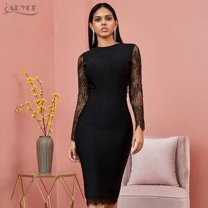 Image 4 - Adyce 2020 nuevo encaje de otoño vestido ajustado de manga larga para mujer Sexy ahuecado negro Club Midi celebridad vestido de noche de fiesta de la pasarela