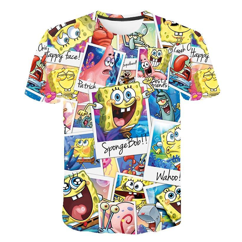 Summer 2019 Men's T-shirt Fun Funny SpongeBob 3D Printed Shorts Sleeves T-shirt Fashion Casual Tops And T-shirt Brand Unisex Clo