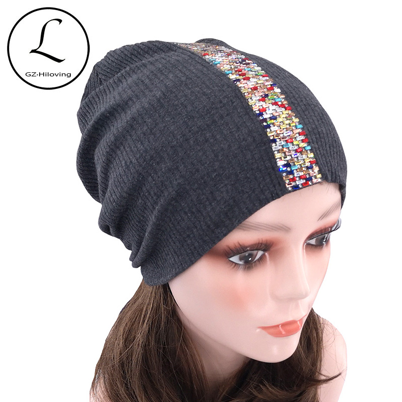 Women Ribbed Rhinestone Beanie Hats For Ladies 2019 New Slouchy Cotton Knitted Beanie Skullies Cap Warm Bonnet Christmas Gifts
