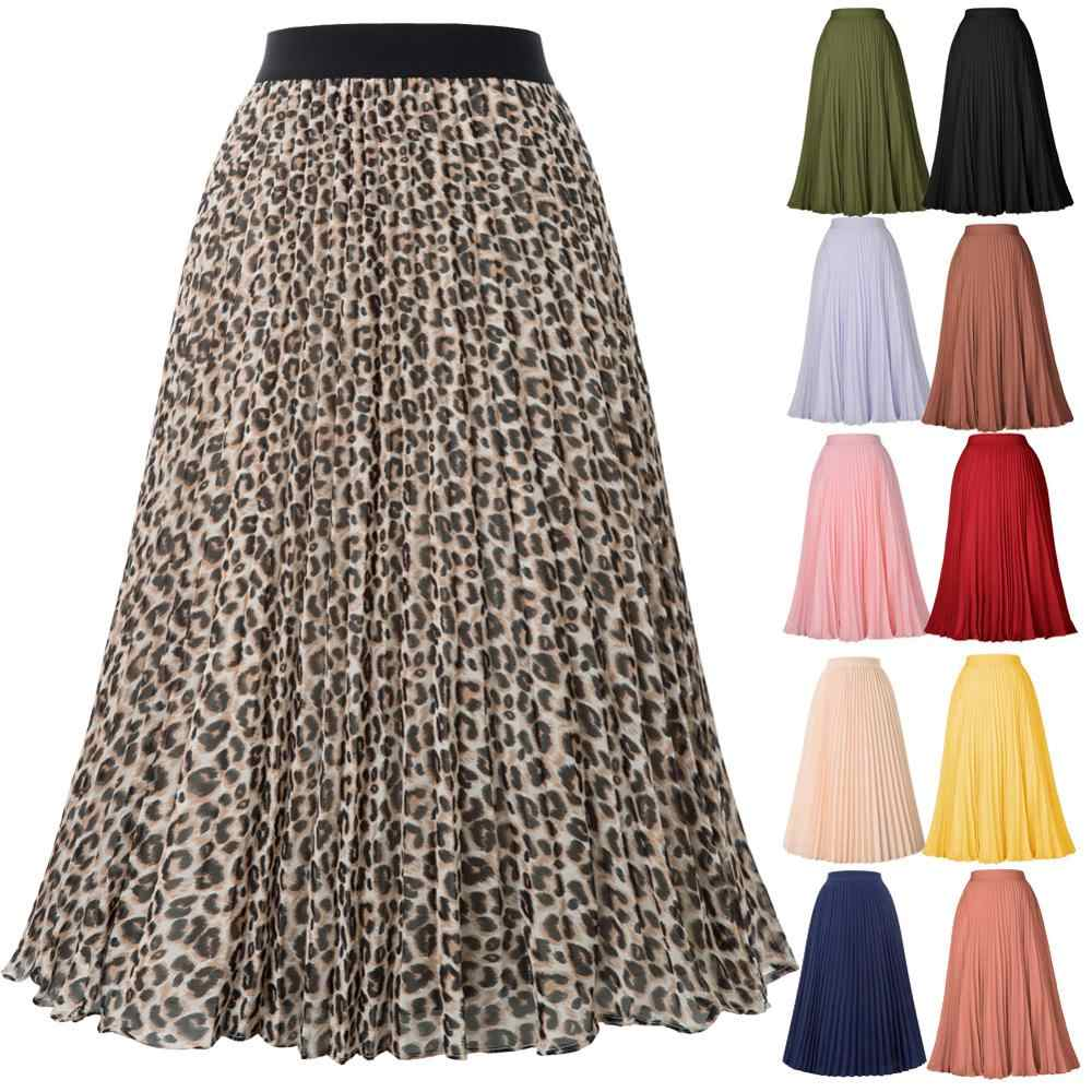Grace Karin Women High Waist Pleated A-Line Skirt Spring Summer Ladies Solid Color/Leopard Swing Skirts Flared Midi Party Skirt