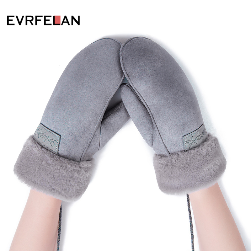 Evrfelan Winter Gloves Velvet Warm Women Solid For Thick Outdoor Mittens Female Plus