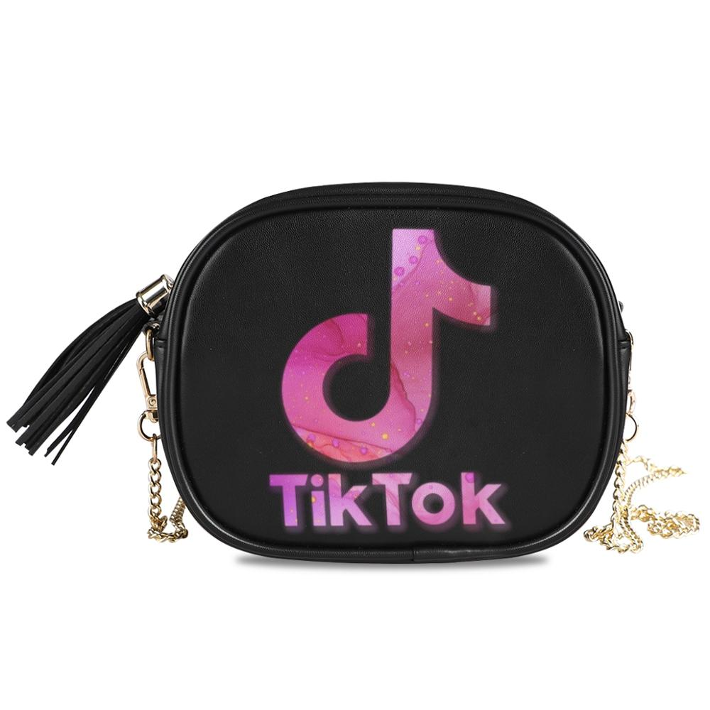 ALAZA Women Crossbody Bags Summer Korean Version Of The Black Messenger Bag Handbag Chains TikTok LIKEE Printing Shoulder Bag