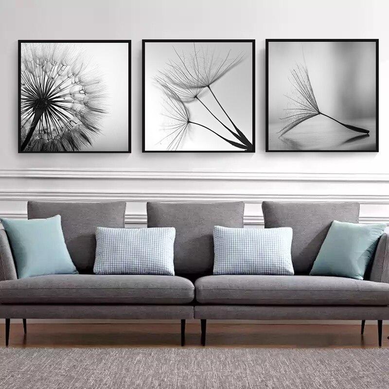 Черно-белый цветок одуванчика, Картина на холсте, современное искусство, принт, постер, домашний декор, гостиная, абстрактные настенные картины