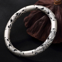 35g 999 Sterling SilverJewelry Opening Bracelet Men Women Gitfs New Jewelry Fashion Vintage High Quality Thai Silver Bangles