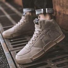 Nova moda tênis de alta ajuda masculina sapatos casuais confortáveis não-deslizamento sapatos marca alta tendência de camurça sapatos masculinos