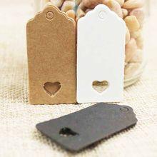 100 pçs branco marrom preto oco coração em papel embalagem etiquetas de papel