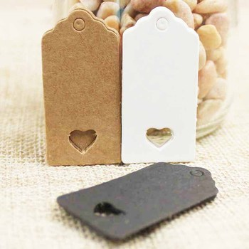 100pcs White Brown Black Hollow Heart Kraft Paper Gift Bags Tag Hang Tags Candy Dragee Wedding Paper Cards Wrapping Paper Labels image