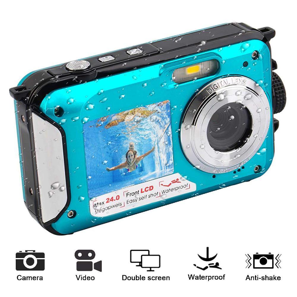 À prova dselfie água anti-agitação câmera digital 1080 p completo hd câmera subaquática 24 mp gravador de vídeo selfie tela dupla dv câmera de gravação
