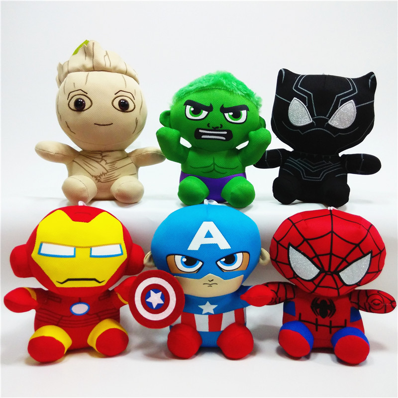 Marvel Avengers Stuffed Animals Plush Dolls Toys Anime Spiderman Hulk Iron Man Captain America Cartoon Doll Kid Gift image