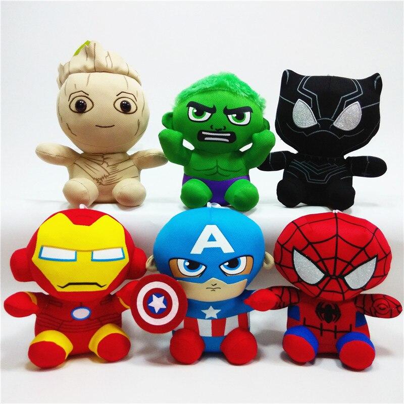 Marvel Avengers Stuffed Animals Plush Dolls Toys Anime Spiderman Hulk Iron Man Captain America Cartoon Doll Kid Gift