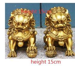Gratis Swhipping Collectable Een Paar 4.5 Inch Hoge Chinese Feng Shui Brass Foo Hond Fu Lion Standbeeld Woondecoratie Ambachten