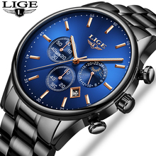 LIGE New Mens Watches Casual Fashion Sport Watch Men Top Brand Luxury Business Waterproof Quartz watch Relogio Masculino+Box lige new fashion men watches top brand luxury rose gold quartz watch men casual waterproof sport watch relogio masculino