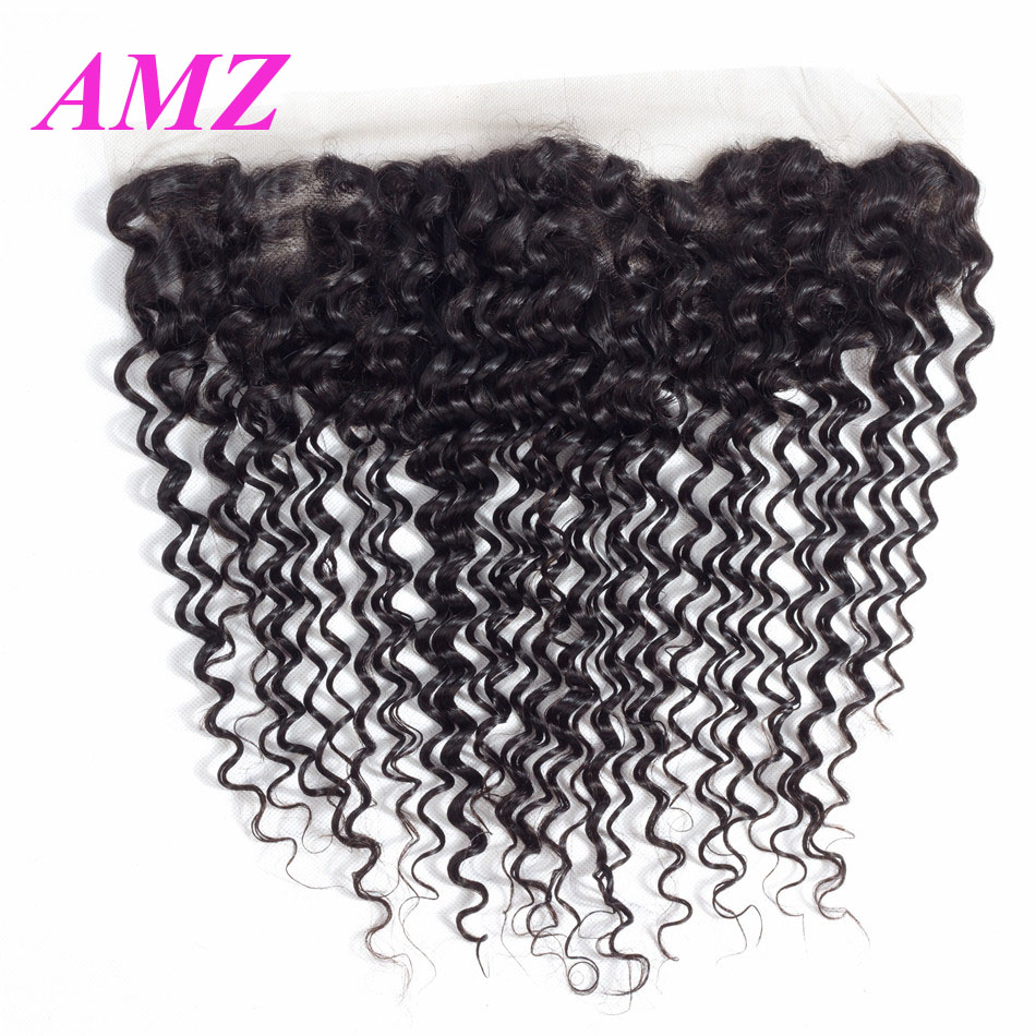 13x4 Kinky Curly Lace Frontal Closure With Baby Hair Peruvian Remy Human Hair Closure Swiss Lace Frontal Abdo
