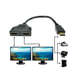 HDMI 1 to 2 Split Double Signal Adapter Convert Cable for Video TV HDTV Slim and compact , easy to storage and carry N11