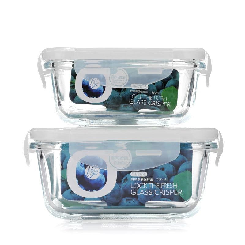 Récipient de stockage de nourriture en verre Portable, boîte à déjeuner sans BPA, 100% boîte à déjeuner de Camping de voyage étanche avec couvercle à verrouillage intelligent