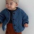Корейский стиль, детская одежда, зимняя утепленная джинсовая куртка для мальчиков и девочек, детское теплое Стеганое пальто для малышей