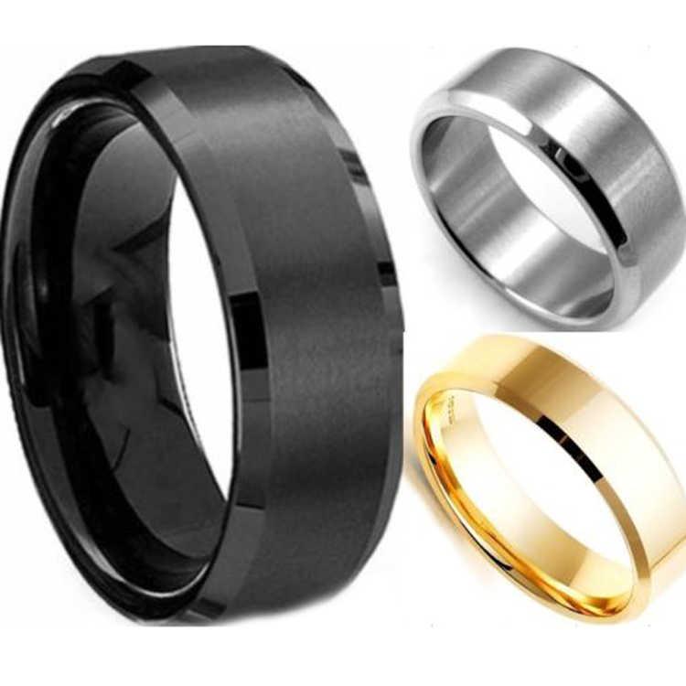 ผู้ชายแฟชั่น Charming คุณภาพสูงสีดำทองเงินสแตนเลสสตีลแหวนแฟชั่นเครื่องประดับอุปกรณ์เสริม
