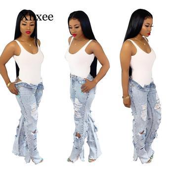 цена на 2020 Summer High Waist Mom Jeans Ripped Flare Jeans For Women Bleach Skinny Jeans Woman Plus Size Female Denim Wide Leg Pants