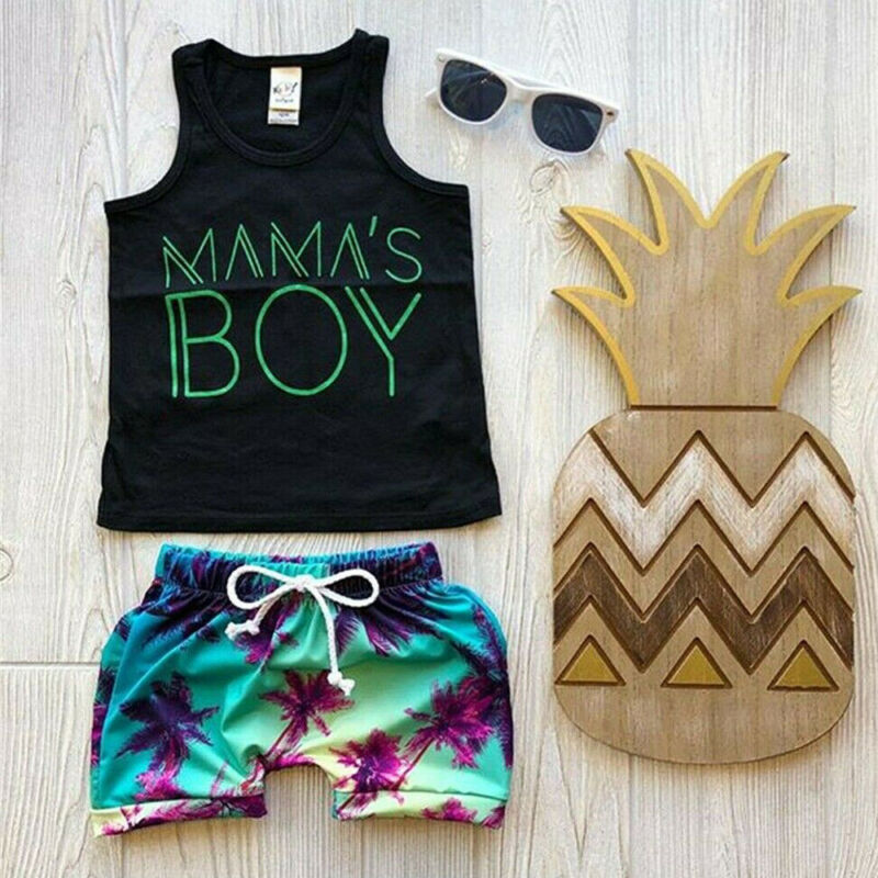 Newborn Infant Baby Boy Summer Beach Hawaii Outfit T Shirt Tank Top Shorts Pants