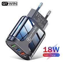 Szybka ładowarka USB GTWIN 3 szybka ładowarka 3 0 uniwersalna ładowarka ścienna do telefonu Samsung Xiaomi iPhone QC3 0 tanie tanio CN (pochodzenie) 3 porty Pulpit Ac Źródło Qualcomm szybkie ładowanie 3 0 100-240 V 0 5A