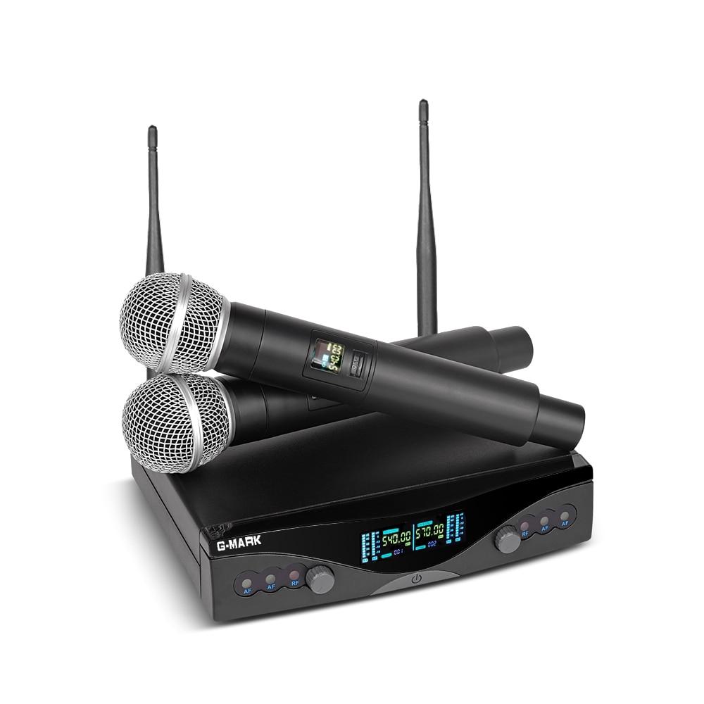 G-MARK UHF Wireless Microphone System G320 Long Range Dual Channel 2 Handheld Mic Transmitter Professional Karaoke Top Quality