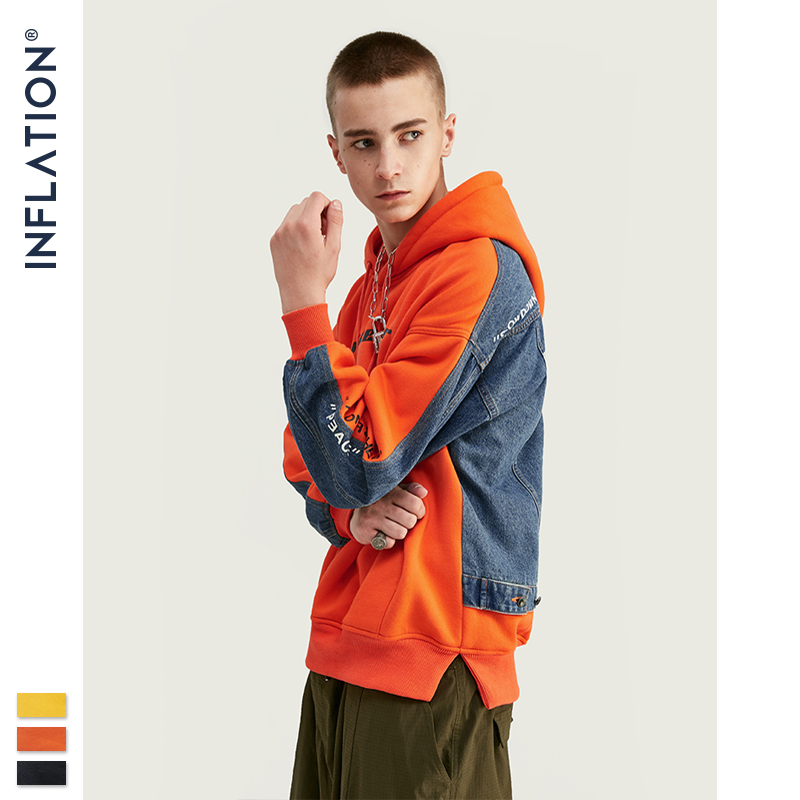 INFLATION New Fashion Men's Fleece And Denim Jacket Men Jacket Tracksuits Denim Jacket Men Streetwear Jeans Jacket 8794W