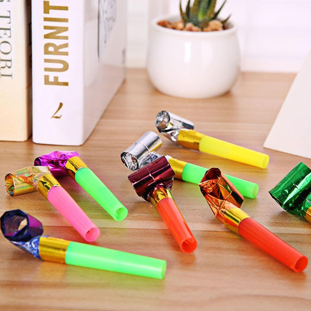 10pcs Children Whistle Toys Colorful Long Noses Whistles Kids Birthday Party Props Children Long Noses Whistle Toys