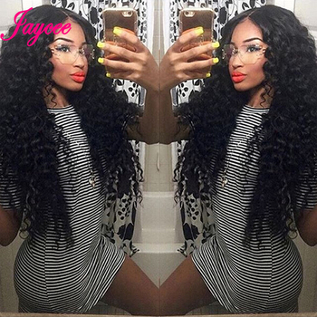 Brazilian Deep Wave Bundles With Closure 4*4 Tissages Bresilien Human Hair Extensions Brazilian Hair Weave Bundles with Closure 1
